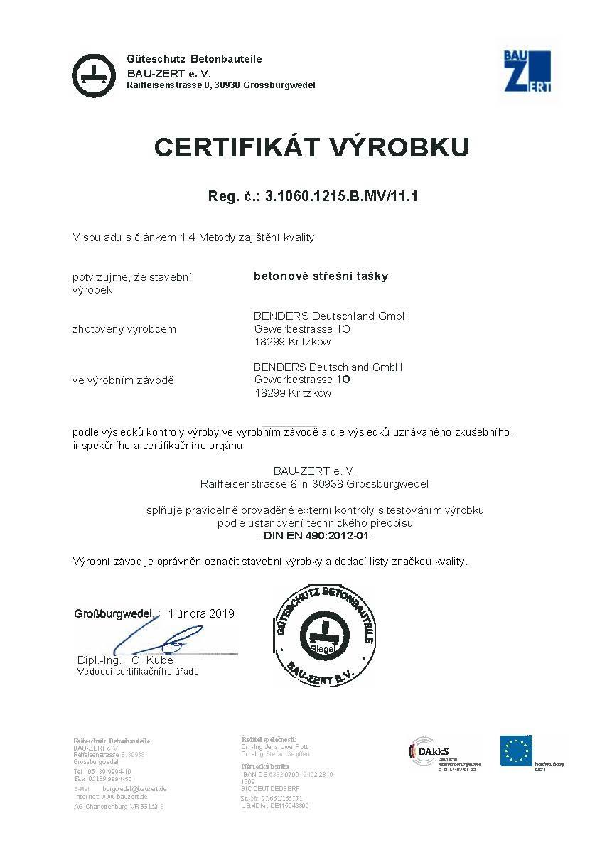 2019 Certifikát betonové střešní tašky - DIN EN 4902012-01