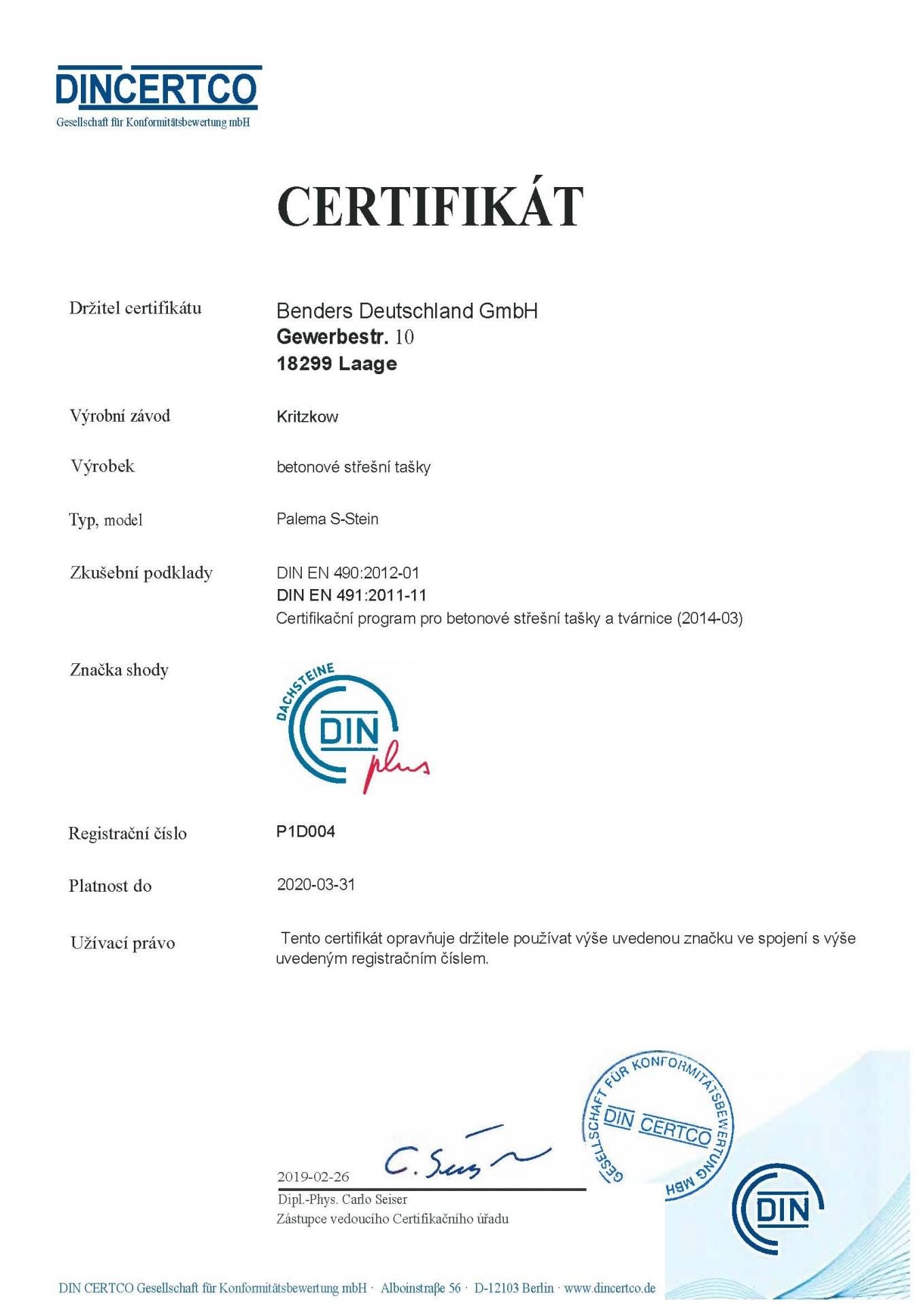 Din Certifikát -DIN- EN 4902012-01 -DIN EN 4912011-11-  Palema