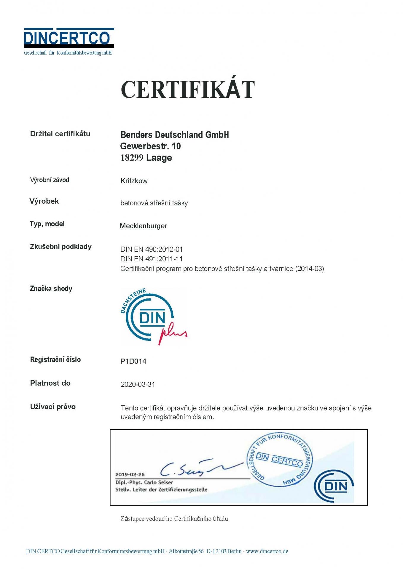 Din Certifikát - DIN -EN 4902012-01 -DIN EN 4912011-11-   Mecklenburger