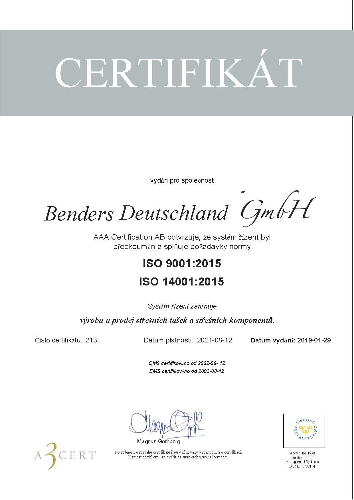 ISO Certifikat 20190129