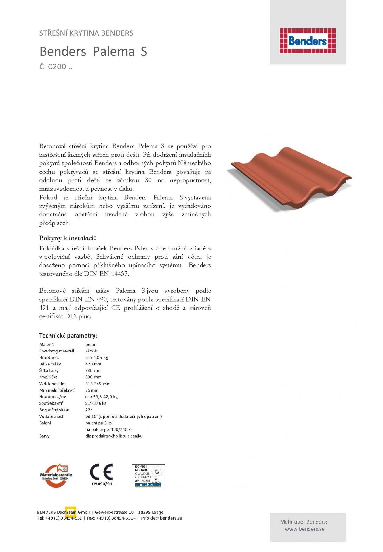 Technický list -0200-Palema